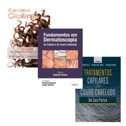COMBO COSMETICOS CAPILARES + FUNDAMENTOS EM DERMATOSCOPIA  + TRATAMENTOS CAPILARES E DO COURO CABELUDO